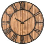 Oldtown Farmhouse Metal & Solid Wood Whisper Quiet Ticking Wall Clock (Wood, 36-inch)