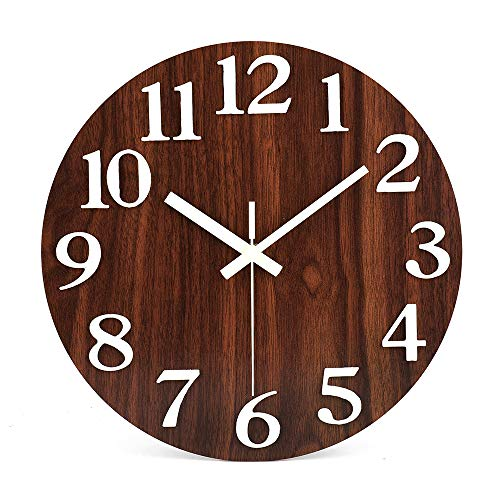 "12"" Night Light Function Wooden Wall Clock with Large 3D Numbers Silent Non-Ticking Battery Operated Quartz Decorative Round Clock Modern / Rustic Country Tuscan Style for Office, Living Room,School"