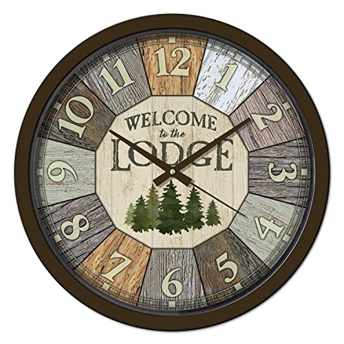 Reflective Art 29305SP Welcome to The Lodge Classic Clock, 15″