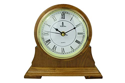 Mantel Clock, Silent Decorative Wood Desk Clock, Battery Operated, Wooden Design, for Living Room, Office, Kitchen, Shelf & Home Décor Gift – 9″ x 8.5″ (M102 – Mantle Clock)