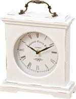 WHW Whole House Worlds Iconic Colonial Mantel Clock, Roman Numerals, Vintage Style, Glass, White, Distressed Finish, Wood, Metal, 8 1/4 L x 2 1/2 W x 9 1/2 H Inches, 1AA Battery (Not Included)