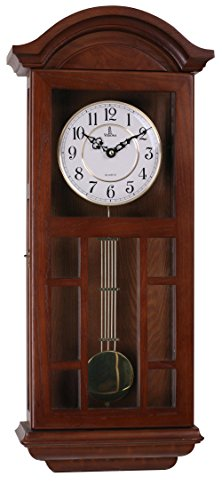 Best Pendulum Wall Clock, Silent Decorative Wood Clock With Swinging Pendulum, Battery Operated, Large Dark Cutout Wooden Design, For Living Room, Kitchen, Office & Home Décor, 27 x 11.5 inches