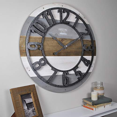 FirsTime & Co. 31061 Shabby Planks Wall Clock, 27″, Rustic Gray