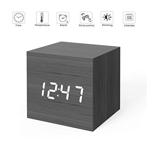 MiCar Digital Alarm Clock, Wood LED Light Mini Modern Cube Desk Alarm Clock Displays Time Date Temperature Kids, Bedroom, Home, Dormitory, Travel (Black)