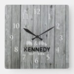 Gray Wood Country Wedding Anniversary Square Wall Clock