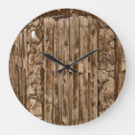 Old Rustic Wooden Fence Large Clock