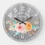 Rustic Shabby Flowers Custom Family Large Clock