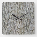 Tree Bark Gray Nature Square Wall Clock