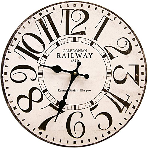 Round White Railway Decorative Clock With Black Numbers 13 x 13 inches Quartz movement