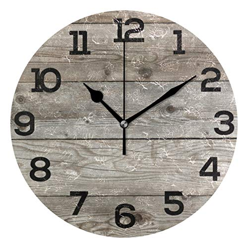 Wall Clock Old Barn Wood Rustic Round Acrylic Clock Black Large Numbers Silent Non-Ticking 9.45″ Clock Decorative Painting Battery Operated Clock for Home School Hotel Library