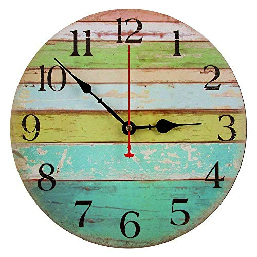 RELIAN 13.5 Inch Rustic Beach Wall Clock, Silent Non Ticking Large Wall Clock, Batter Operated, Vintage Shabby Beachy Ocean Paint Boards, Home Decoration Wall Clock for Ocean Nautical Living Room