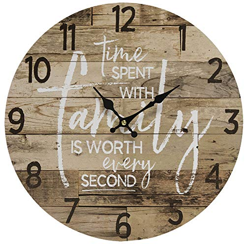 Round Farmhouse Wall Clock – 13 Inches – Decorative Wood Style Quartz Battery Operated Rustic Home Décor Vintage Decoration Retro Design, with Large Arabic Numbers