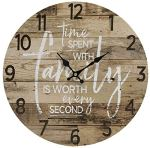 Round Farmhouse Wall Clock – 13 Inches – Decorative Wood Style Quartz Battery Operated Rustic Home D?cor Vintage Decoration Retro Design, with Large Arabic Numbers
