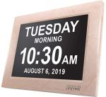 American Lifetime [Newest Version] Day Clock – Extra Large Impaired Vision Digital Clock with Battery Backup & 5 Alarm Options (Cream Marble Color)