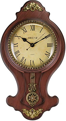 Decoz Pendulum Wall Clock with Antique Heirloom Style – Vintage and Elegant Home Decoration – Battery Operated, 27″ Tall Wall Décor with Character