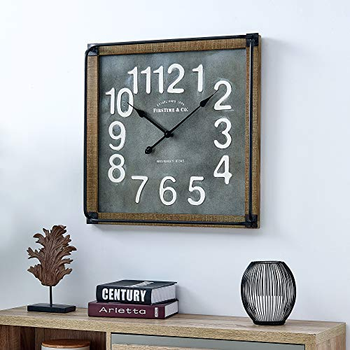 FirsTime & Co. 31089 Liam Industrial Square Wall Clock, 24″ H x 24″ W, Metallic Gray, White, Black, Antique Brown
