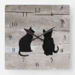 Modern cat silhouettes pets on rustic barn wood square wall clock