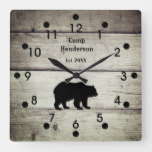 Rustic Bear Camp Acrylic Clock