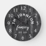 Wood Custom Family Name Rustic Farmhouse Round Clock