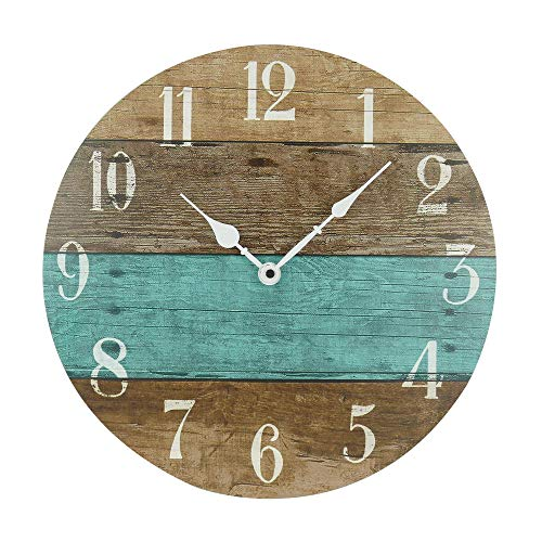 NIKKY HOME 14″ Rustic Silent Noiseless Spliced Wood Round Beach Wall Clock