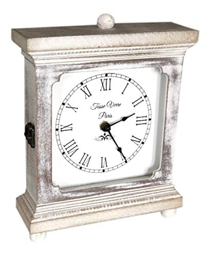 Rustic Wood Clock for Shelf, Table Or Desk 9″x7″ – Old Fashioned Distressed White Washed Classical Look for Office, Bedroom, Shelf, Fireplace Mantel, Family, and Living Room. AA Battery Operated