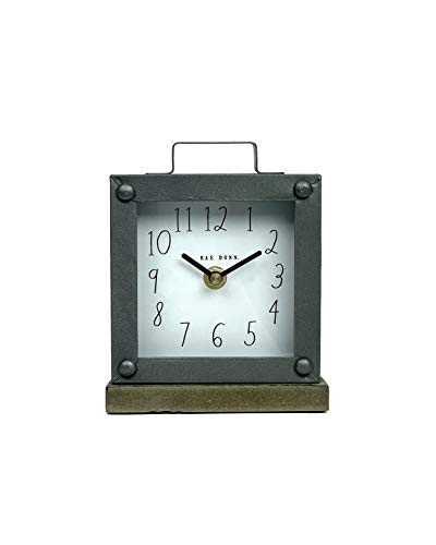 Rae Dunn Desk Clock – Battery Operated Modern Rustic Design with Wooden Base, Top Handle for Bedroom, Office, Kitchen – Small Classic Analog Display – Chic Home Décor for Desktop Table, Countertop
