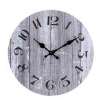10 Inch Non Ticking Silent Decorative Round Wall Clock Quality Quartz Battery Operated Wooden Wall Clocks Vintage Rustic Country Tuscan Style Gray Wood Decor for Office/Kitchen/Bedroom/Living Room