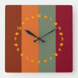 Fall Harvest Color Stripes Square Wall Clock