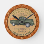 Pumpkin Patch Farm Vintage Truck Fall Plaid Rustic Round Clock
