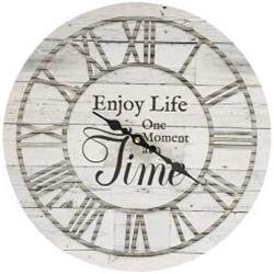 JB Products Shop Farmhouse Style Rustic Wall Clock, Grey Wood Design with Saying: Enjoy Life One Moment at a Time 13″ Diameter. Beautiful Addition to Any Room!