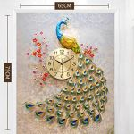 Large Wall Clock Quartz Creative Modern Luxury 3D Diamond Crystal Quartz Peacock Wall Clocks for Home Living Room Decor Large Silent Wall Clock Art Crafts Living Room Mute Wall Watch, Main Picture 3