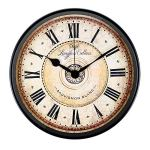 Justup Wall Clock, 12 inch Metal Black Wall Clock European Style Retro Vintage Clock Non – Ticking Whisper Quiet Battery Operated with HD Glass Easy to Read for Indoor Decor (Black 12′)