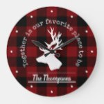 Deer Silhouette Buffalo Plaid Rustic Modern Family Large Clock