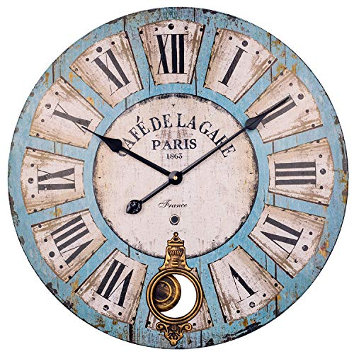 BEW Pendulum Wall Clock, 24 Inch Vintage Roman Numerals Silent Battery Operated Quartz Movement, Large Rustic Decorative Wooden Wall Clock for Living Room/Dining Room/Bedroom/Kitchen