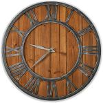 ModiV?rza Large Wall Clock – Farmhouse Style – Natural Wood – Quartz Motor – Vintage Metal Trim – Rustic Kitchen Decor – Battery Powered – Home Decor – 18 inch – Noiseless Big Wall Clock – Shiplap