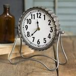 Industrial Desk Clock- Classic Vintage Retro Decorative Metal Desk Clock for Your Home Decor. Arabic Numerals, Farmhouse Rustic Home Decor, Battery Operated and Easy to Read