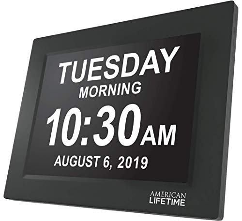 American Lifetime [Newest Version] Day Clock – Extra Large Impaired Vision Digital Clock with Battery Backup & 5 Alarm Options (Black Finish)