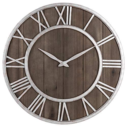 Oldtown Farmhouse Metal & Solid Wood Noiseless Wall Clock (Dark Brown Wood Rustic Silver Metal Iron Frame with Rusted Orange Red Paint Dots, 18-inch)