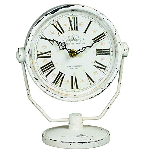 The Country House Aged Meadow Vintage Antique Distressed White 9 x 8 Metal Desk Shelf Clock
