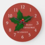 Holly Berries Merry Christmas Family Name Red Large Clock