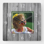 Rustic Farmhouse Gray Wood Custom Photo Square Wall Clock