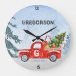 Vintage Red Truck Christmas Monogram Name Large Clock