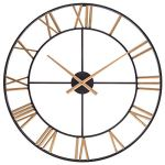 Rustic Wall Clock, Vintage Metal Decorative Clock with Large Roman Numerals, Indoor Silent Non-Ticking Battery Operated Clock for Living, Dining, Bedroom, Kitchen & Den – 24 Inch, Gold Black
