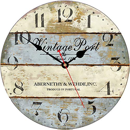 VIKMARI Decorative Wooden Wall Clock 14 Inch Art Hanging Clocks Silent Non-Ticking Battery Operated Round Retro Clocks Arabic Numeral Vintage Port Style Rustic Wall Clocks