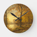 Autumn Time in Indian Summer Golden Sunbeams Round Clock