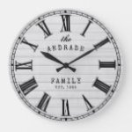 Farmhouse Family Name Rustic White Wood Country Large Clock