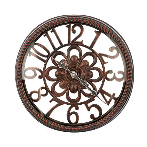 AHUA Large Wall Clock, Vintage Industrial Decorative Wall Clock, Rustic Silent Clocks, 20 Inch Silent Retro Quartz Clock Decorative Wall Clock with HD Glass – Modern Retro Wall Clock Large Decorative