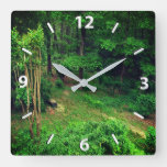 Forest Greenery Trees Country Cabin Square Wall Clock