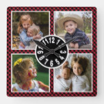 Red Buffalo Plaid 4 Photo Collage Christmas Square Wall Clock