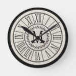 Rustic Chic Farmhouse Family Monogram Laurel Large Round Clock